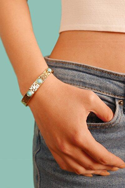 Stelart Jewelry Açık Mavi Kedi Gözü Bilezik | Altın Kaplama