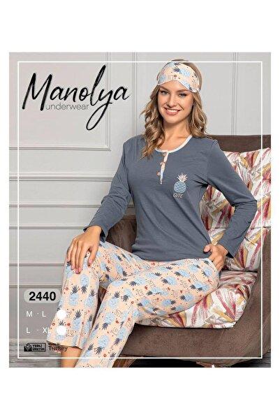 Manolya Pamuk Uzun Kollu Pijama Takımı