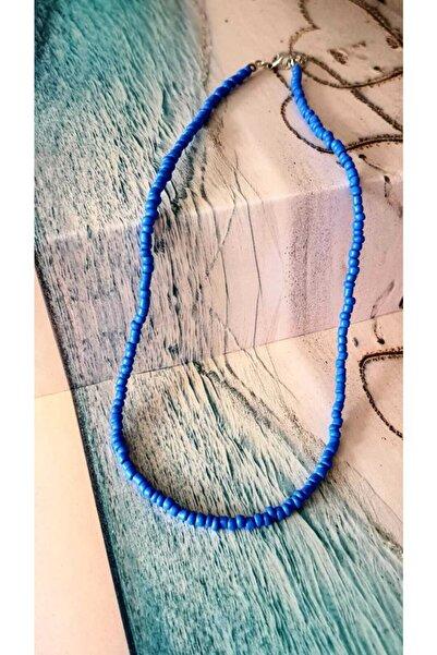 CosiBella Kadın Koyu Mavi Renk Boncuk Kolye