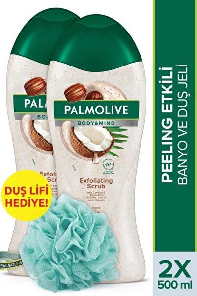 Palmolive Body & Mind Hindistan Cevizi Peeling Etkili Banyo Ve Duş Jeli 500 Ml X 2 Adet + Duş Lifi H
