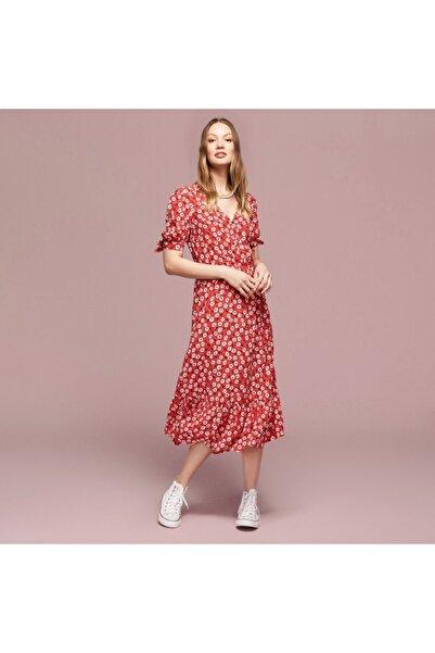 Mudo Kadın Kırmızı Çiçekli Kloş Midi Elbise