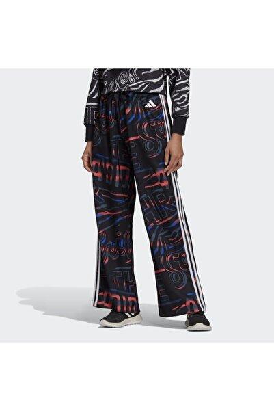 adidas Kadın Siyah Eşofman Altı Allover Print 3-stripes Wide