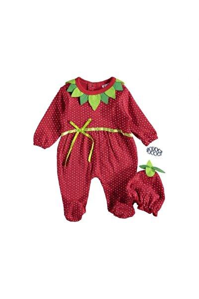 Rico Kız Bebek Kırmızı Çilek Penye Tulum