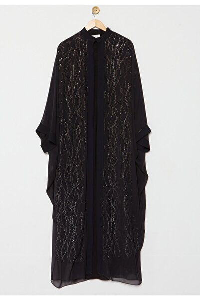 Setrms Kadın Siyah Pul Payet Işıltılı Abaya