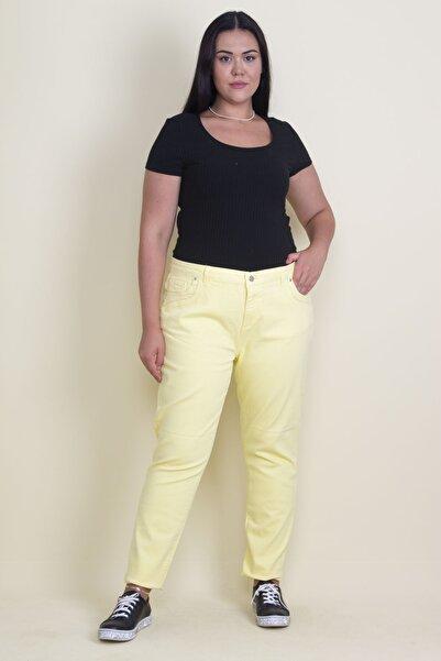 Şans Kadın Sarı 5 Cep Likralı Kot Pantolon 65N17769