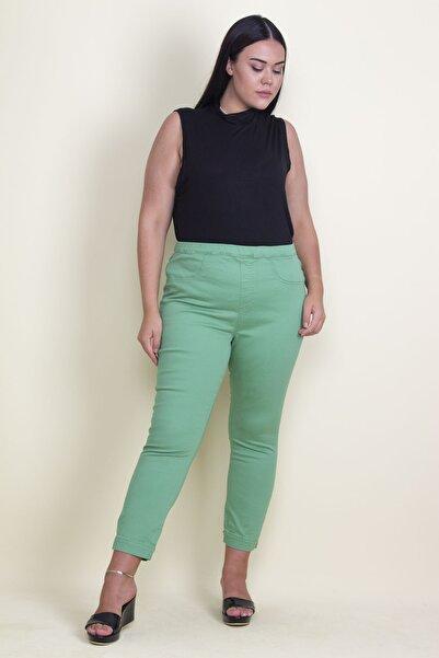 Şans Kadın Yeşil Likralı Gabardin Kumaş Bel Kısmı Lastikli Arka Cepli Ön Süs Cep Pantolon 65N17773