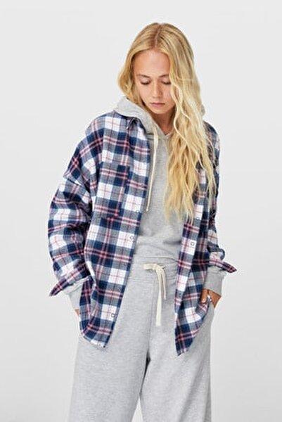 Kadın Ekru Oversize Kareli Gömlek 08156220