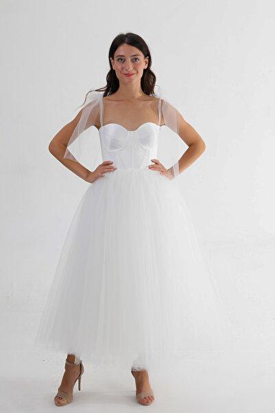 Lenta Moda Kadın Beyaz Midi Boy Tül Abiye Balo Elbisesi