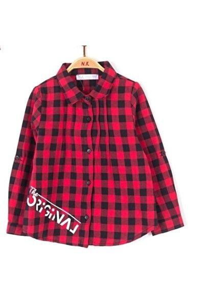 nk kids Kız Çocuk Kırmızı Ekoseli Gömlek