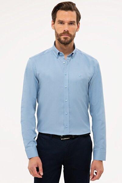 Pierre Cardin Erkek Mavi Slim Fit Oxford Gömlek