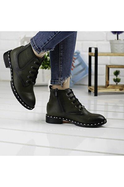 Ayakland Kadın Yeşil Günlük Termo Taban Bot Cilt Ayakkabı 2060-2010