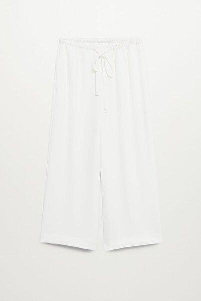 MANGO Woman Kadın Ekrü Fiyonklu Pantolon Etek 77085914