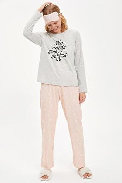 Kadın Gri Strong Coffee Uzun Kollu Pijama Takımı S2063AZ20AUGR