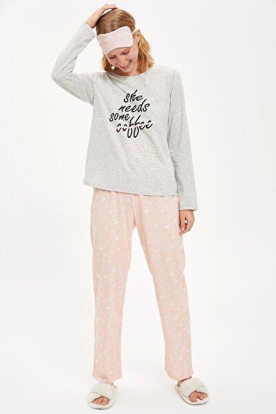 DeFacto Kadın Grey Melange Strong Coffee Uzun Kollu Pijama Takımı S2063AZ20AU