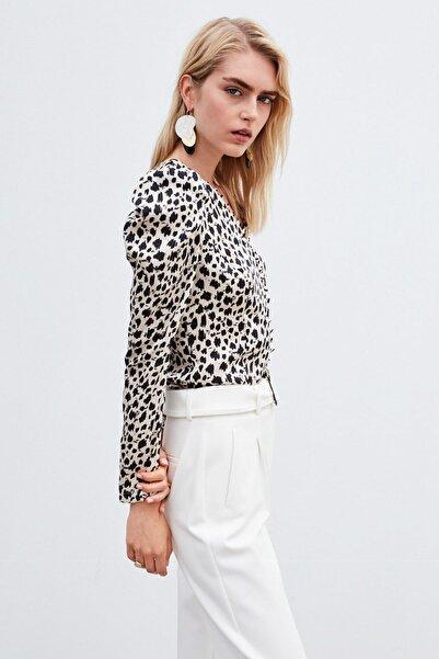 İpekyol Kadın Beyaz Balon Kol Bluz IW6200006094