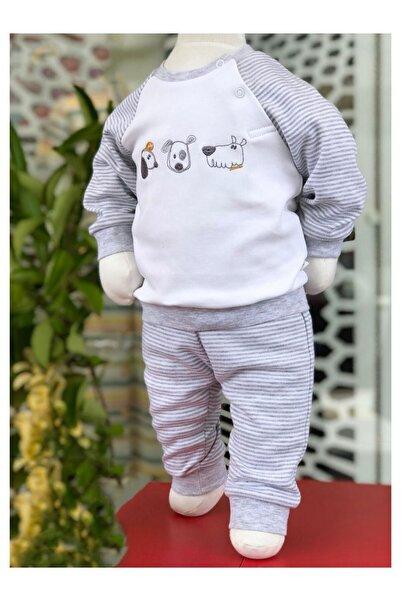 For My Baby Bebek Gri Sevimli Köpekler Aplikeli Takım