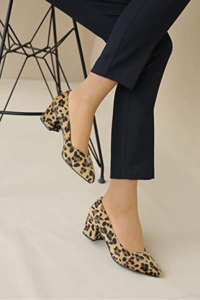 LDÇ Kadın Leopar Topuklu Ayakkab