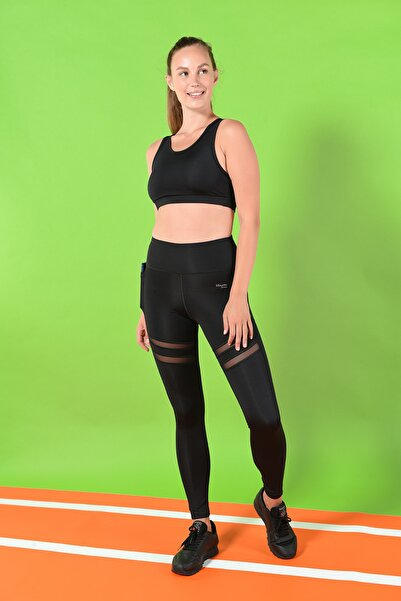Spor Tayt Yoga Pilates Giyim - Ephesus Tüllü Cepli Siyah