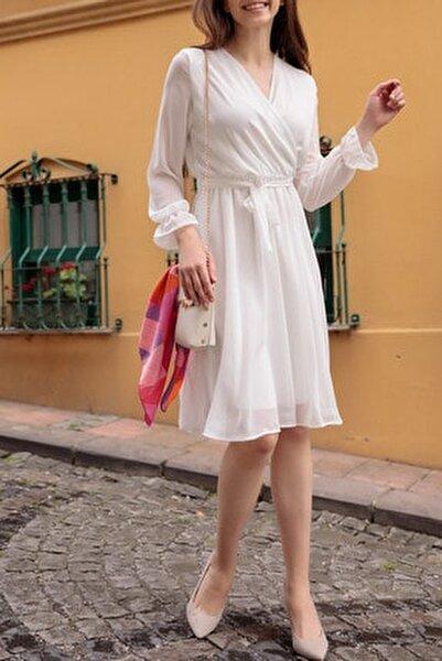 Kadın Beyaz Kruvaze Yaka Şifon Elbise Boy 100 cm