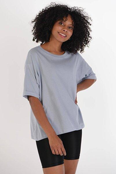 Addax Kadın Buz Mavi Kısa Kollu Tişört P0343 - F1