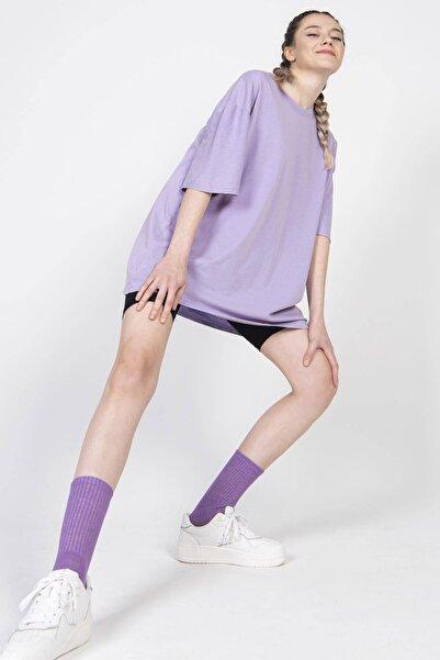Addax Kadın Eflatun Basic Tişört P9439 - A1 ADX-0000022241