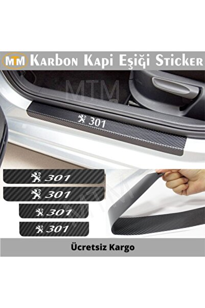 Adel Peugeot 301 Karbon Kapı Eşiği Sticker (4 Adet)