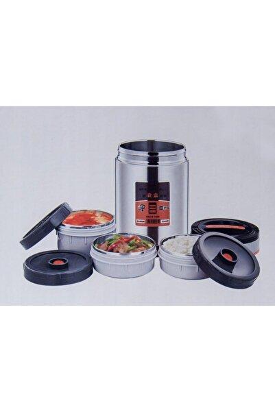SmartFox Gümüş Yemek Termosu 3 Katman Sefer Tası 1,9 lt