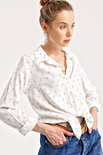 Bigdart Kadın Siyah Desenli Beyaz Viskon Gömlek 3831