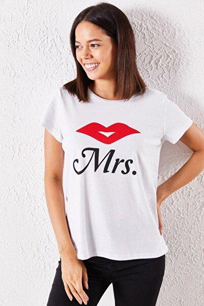 Zafoni Kadın Beyaz T-shirt