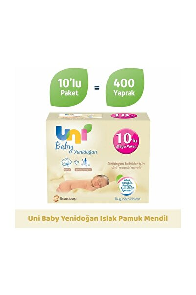Uni Baby Yenidoğan Islak Mendil 10'lu Paket - 400 Yaprak 8692190010246