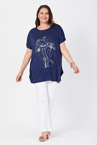 Siyezen Kadın Lacivert Salaş Deste Çiçek Baskılı Büyük Beden T-shirt