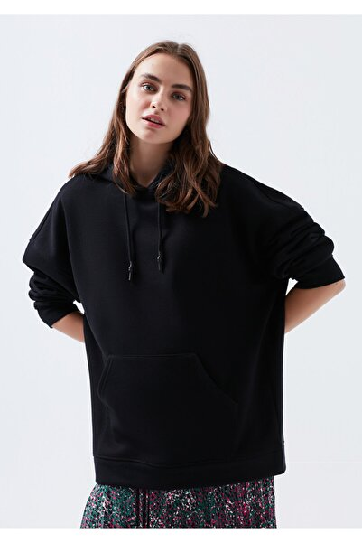 Mavi Kadın Siyah Kapüşonlu Sweatshirt