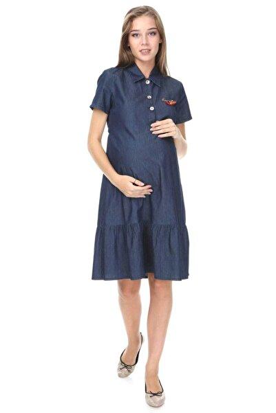 Entarim Kadın Lacivert Emzirme Özellikli Hamile Kot Elbise