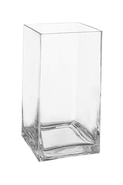 GLASSY Kare Cam Vazo ( 30 Cm Yükseklik )