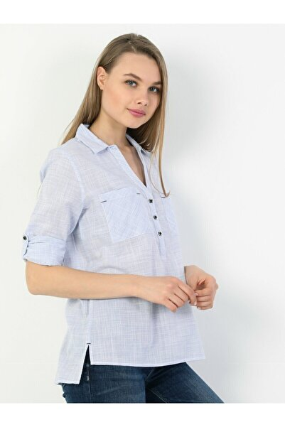 Colin's Blouse Standart Kol V Yaka Mavi Kadın Gömlek Uzun Kol
