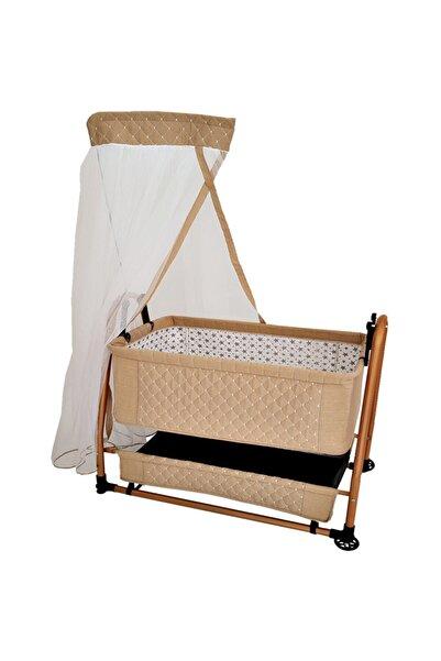 bebegen Bej Keten Kumaş 55x95 Anne Yanı Yatak Bebek Beşik