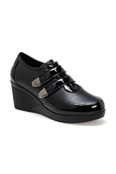 Polaris 151049.sz Kadın Siyah Deri Comfort Ayakkabı