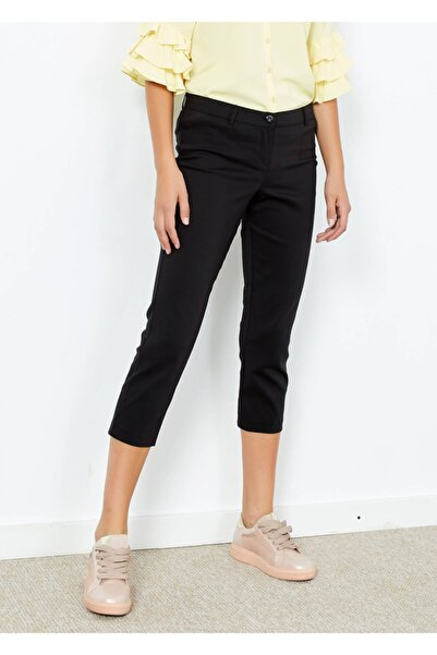 Adze Kadın Siyah Slim Fit Kapri Pantolon