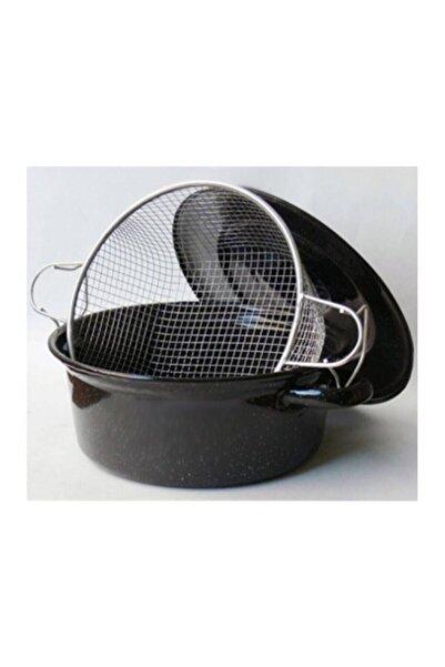 Kardelen Emaye Kapaklı  Siyah Telli Cips Kızartma Tenceresi 26 cm