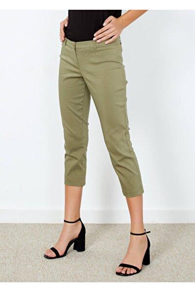 Adze Kadın Haki Slim Fit Kapri Pantolon