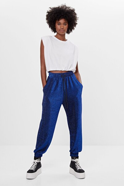 Bershka Kadın Koyu Mavi Metalik Renk Jogger Pantolon