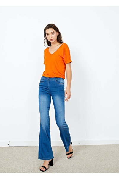 Adze Kadın Lacivert Cepli Ispanyol Paça Pantalon  44