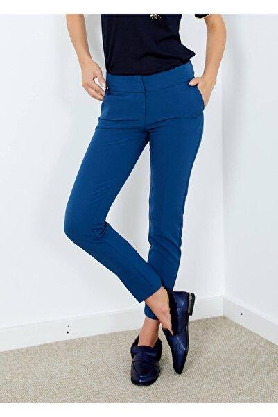 Adze Kadın Mavi Cepli Klasik Kesim Pantolon