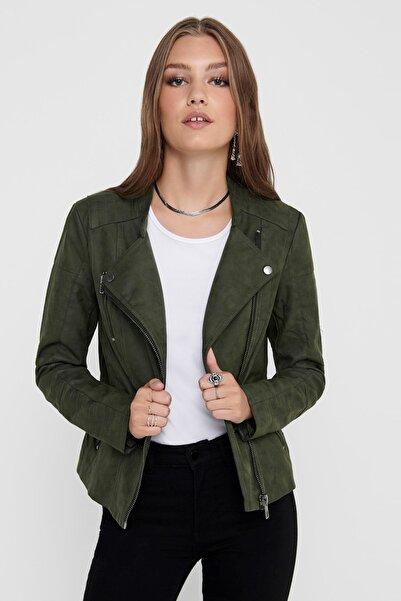 Only Ava Faux Kadın Yeşil Deri Ceket (15102997-ROS)