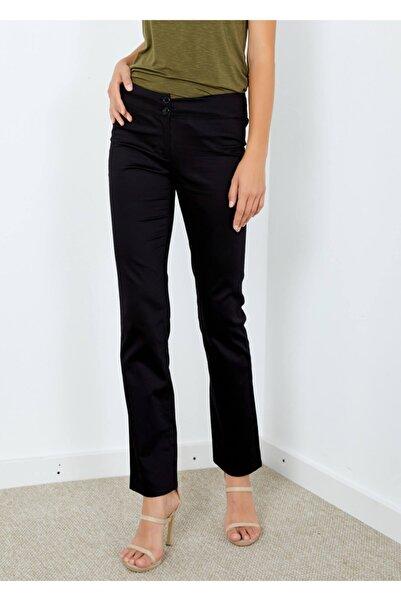 Adze Kadın Siyah Arka Cepli Kumaş Pantolon