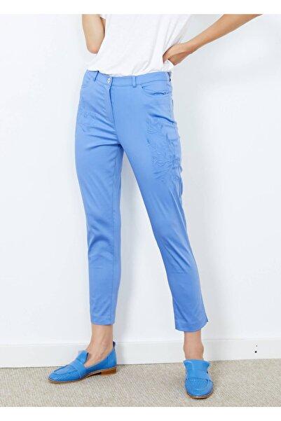 Adze Kadın Mavi Desenli Cepli Pantalon