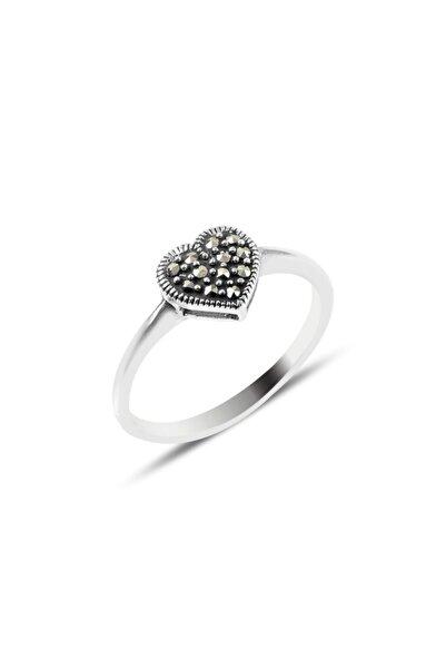 Silverella Gümüş 925 Ayar Markazit Taşlı Kalp Yüzük