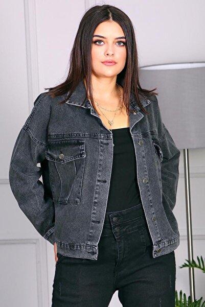 Madmext Kadın Siyah Kısa Kot Ceket Mg695