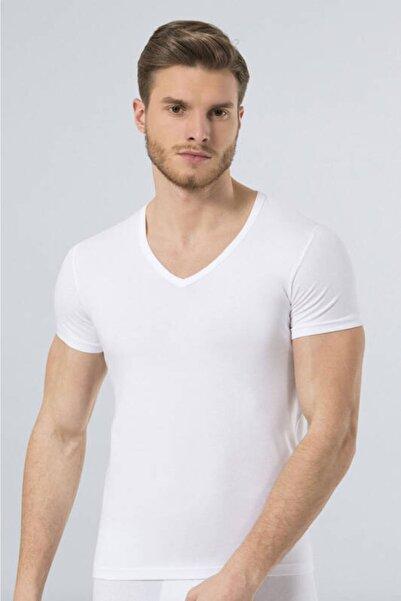 TÜREN Erkek Beyaz V Yaka Likralı Tişört 172