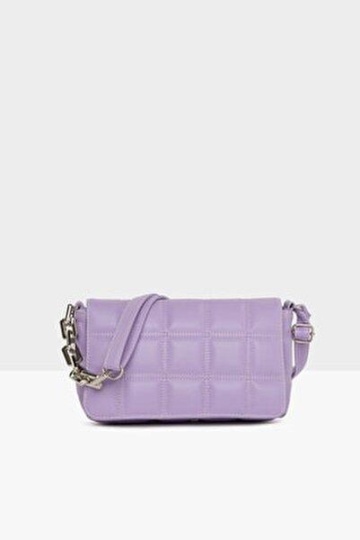 Kadın Mor Nakışlı Kapaklı Mini Çanta M000004928